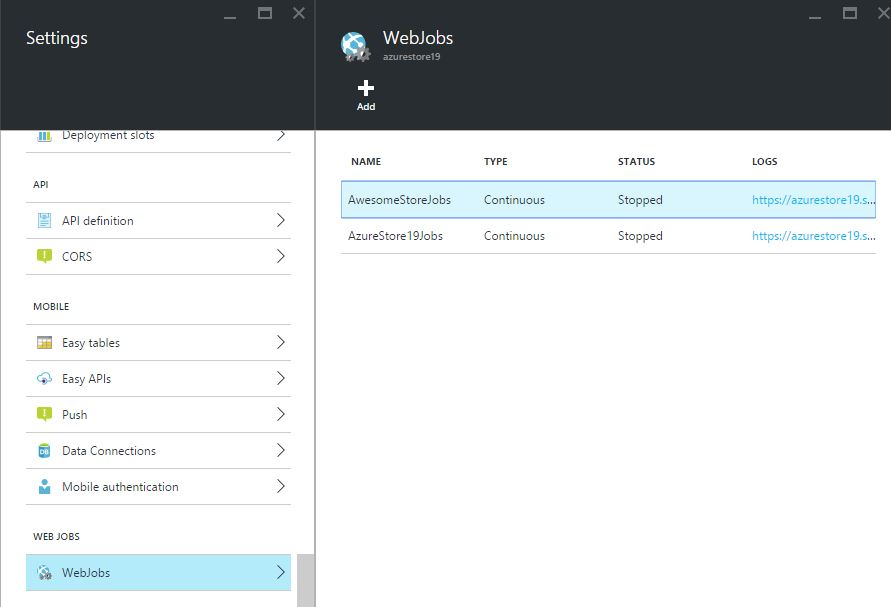 WebJobs in Azure Portal
