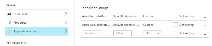 webjobs connection strings