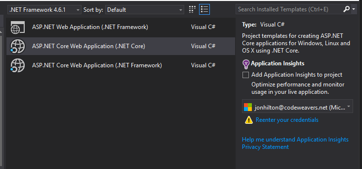 Creating a new .NET Core web application, what are your options ...